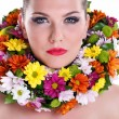 Beauty with flower — Stock Photo