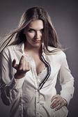 Sexy frau in unbuttoned shirt — Stockfoto