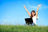 Happiness woman working with laptop, outdoor — Stock Photo