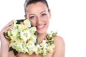 Natural beauty woman with flowers — Stock Photo