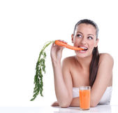 Woman with the carrots juice — Stock Photo
