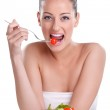 Woman eating healthy salad — Stock Photo #11926256