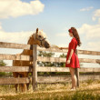 Woman on the farm with her horse — Stock Photo