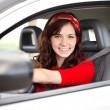 Beautiful woman driver — Stock Photo