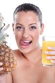 美味的菠萝汁 — 图库照片