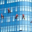 Workers washing windows in the office building - Foto Stock