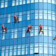 Workers washing windows in the office building - Stock Photo