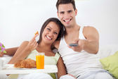 Couple together in morning — Stock Photo