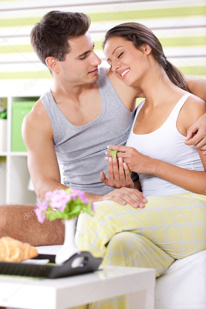 Young couple together enjoying in morning  Stock Photo #12297753