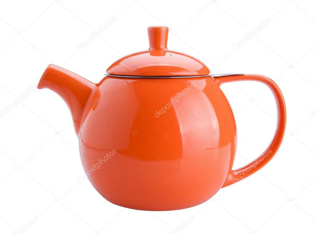 Orange teapot isolated on white background — Stock Photo #11233533