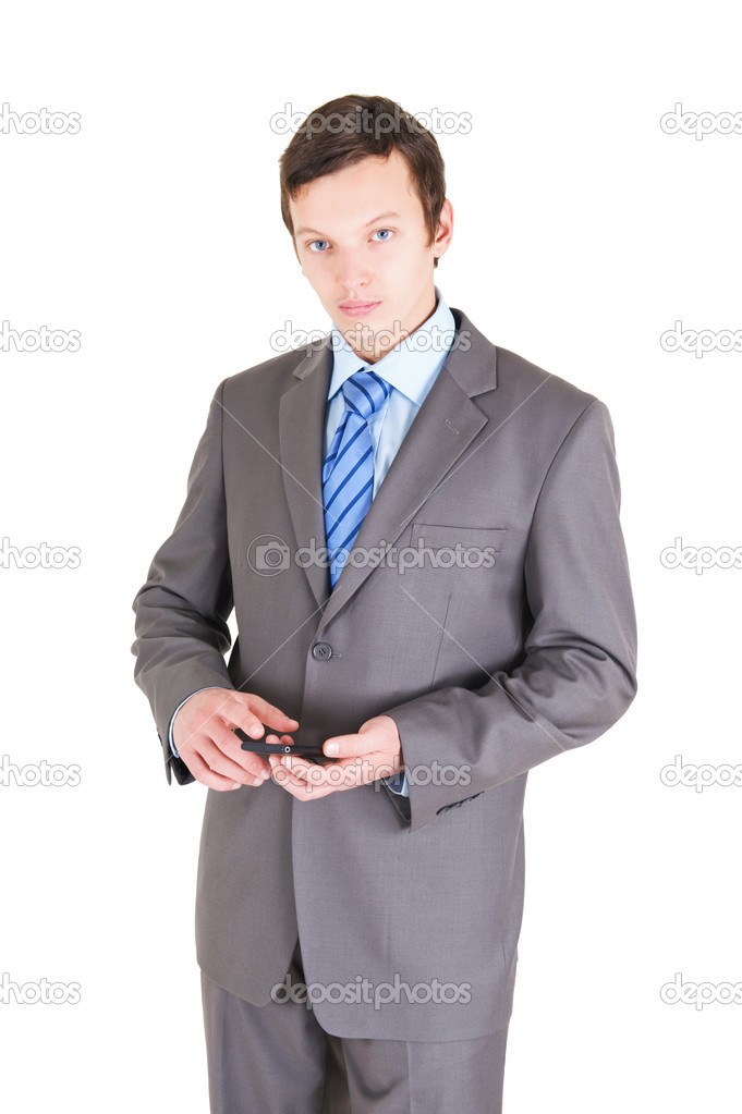 Young businessman with mobile phone isolated on white background — Stock Photo #11536382