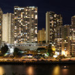 Skyscrapers and partial skyline of Honolulu, Hawaii, at night — Foto Stock