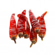 Red hot chili peppers on white — Foto Stock