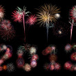 The year 2013 written in fireworks below bursts — Stockfoto