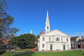 The First Baptist Church and partial skyline of Providence, RI — Stock Photo