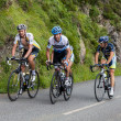 Image of various cyclists from different teams climbing last kilometers of category H mountain pass Aubisque — Stock Photo #11422036