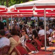 Stock Photo: Red Terrace on Avenue des Champs Elysees