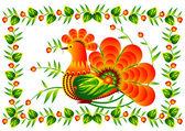 Bird on the decorative flower vector EPS10 — Stock Vector