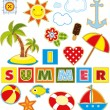 Summer Set Textile Element — Imagen vectorial