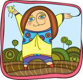 Carefree little girl — Stock Vector