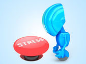 Sad robot with stress button — Stock Photo