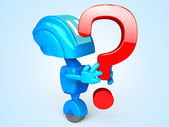 Robot with question — Stock Photo