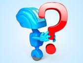 Robô com pergunta — Fotografia Stock