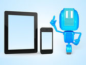 Robot with phone and tablet — Stock Photo