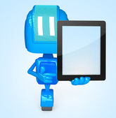 Robot holds tablet pc — Stock Photo