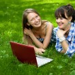 Two attractive girls with a laptop in the park — Stock Photo
