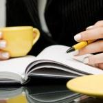 Businesswoman writing — Stock Photo
