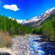 View of mountains and river into valley. Elbrus area — Stock Photo #10770931
