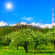 Big television transmitter and landscape view of the Caucasus Mo — Stock Photo #10771117
