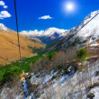 Wonderful view of the cableway in the mountains. — Stock Photo