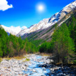 View of mountains and river into valley. Elbrus area — Stock Photo #10771657