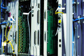 Telecommunication equipment in a datacenter. — Stock Photo