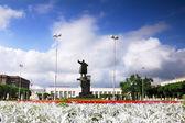 Finlandiya demiryolu i̇stasyonu'na ve saint petersburg yani lenin heykeli — Stok fotoğraf