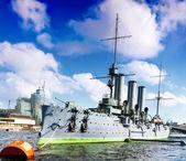 Cruiser Avrora in the city Saintt-Petersburg. Russia — Stock Photo