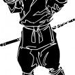 Ninja fighter - vector illustration. Vinyl-ready. - Stock Vector