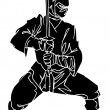Ninja fighter - vector illustration. Vinyl-ready. — Stock Vector