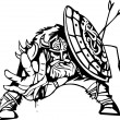 Nordic viking - vector illustration. Vinyl-ready. - Imagen vectorial