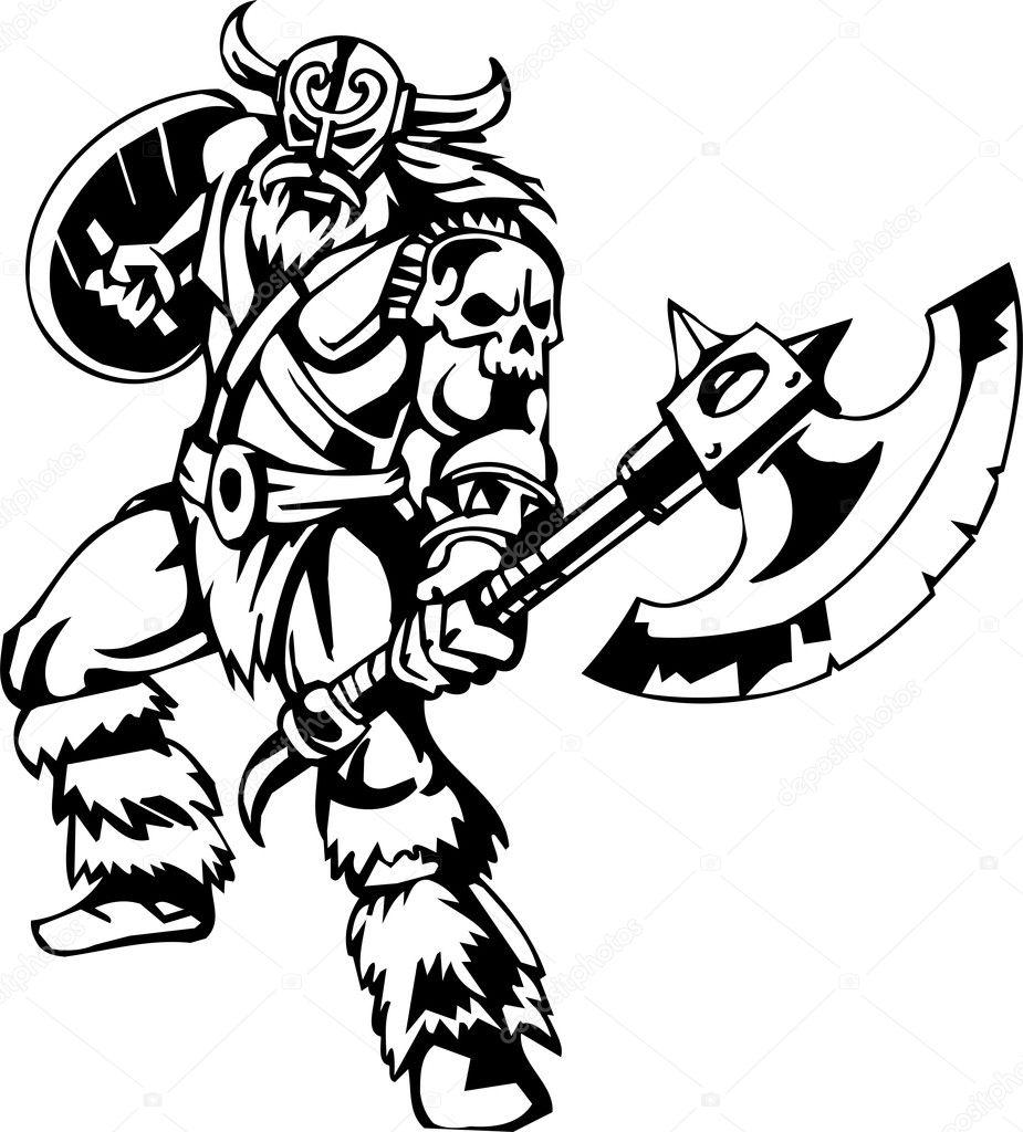 Nordic viking - vector illustration. Vinyl-ready. - Stock Illustration