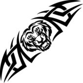 Tiger and symmetric tribals - vector illustration. — Stock Vector
