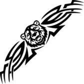 Bear and symmetric tribals - vector illustration. — Stock Vector