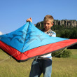 Boy with kite — Stockfoto