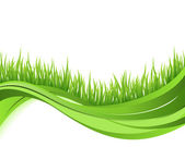 Grönt gräs natur våg bakgrund. Eco koncept illustration — Stockvektor