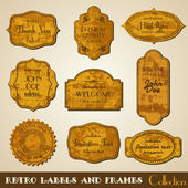 Set of grunge retro vector Labels and Frames. Invitation ornamen — Stock Vector
