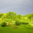 Green landscape with rainbow — Stock Photo