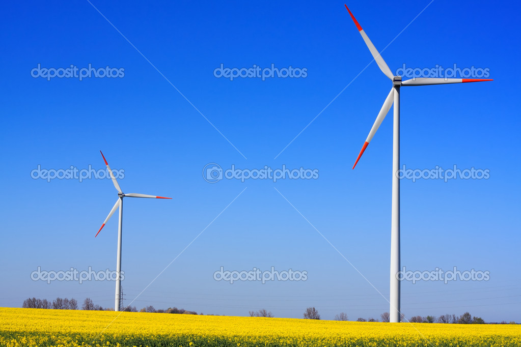 Wind power on blue sky — Stock Photo #11658127