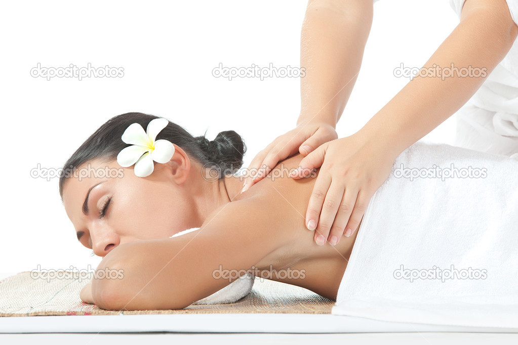 Portrait of young beautiful woman massage on white back — Stock Photo #12384498